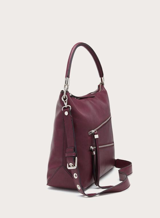 Zip Detail Hobo Bag, Red, hi-res