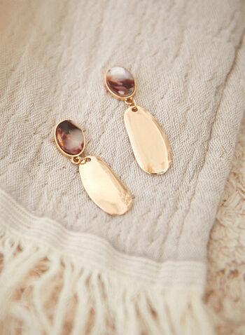 Boucles d'oreilles à pendentif ovale, Or,  accessoires, bijoux, boucles d'oreilles, étage, pendentif, sur tige, pierre marbrée, couleur dorée, formes ovales, printemps 2021