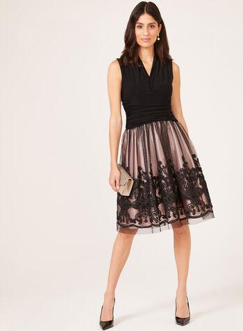 Soutache Lace Cocktail Dress, Black, hi-res
