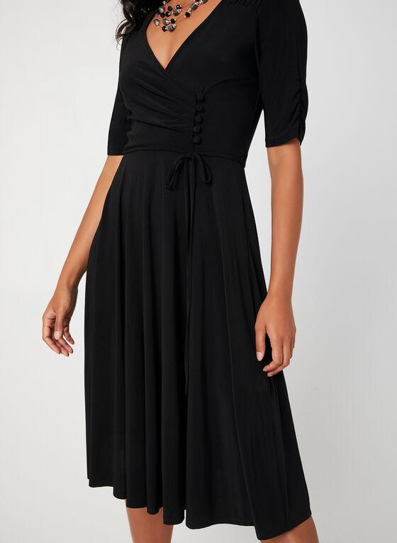 Fit & Flare Jersey Dress, Black, hi-res