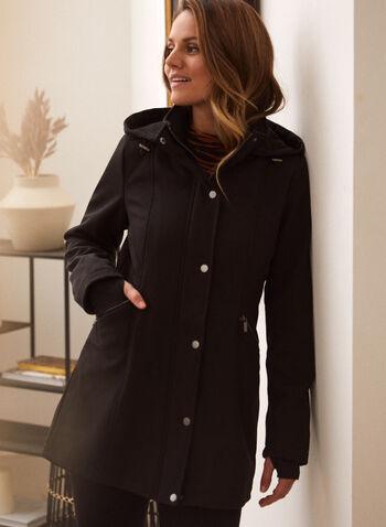 Softshell Anorak Coat, Black,  fall winter 2021, outerwear, coat, jacket, anorak, softshell, soft shell, stand collar, hood, detachable hood, removable hood, front zip, zip front, snap buttons, buttons, long sleeves, knit cuffs, thumb holes, gathered, pockets, fleece, fleece lining, water repellent, wind resistant, raincoat, rain coat, windbreaker