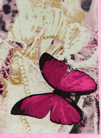 Foulard léger à motif fleurs et papillons, Rose, hi-res