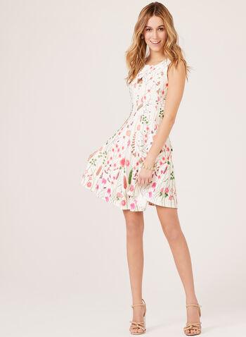 Sleeveless Floral Print Dress, Orange, hi-res
