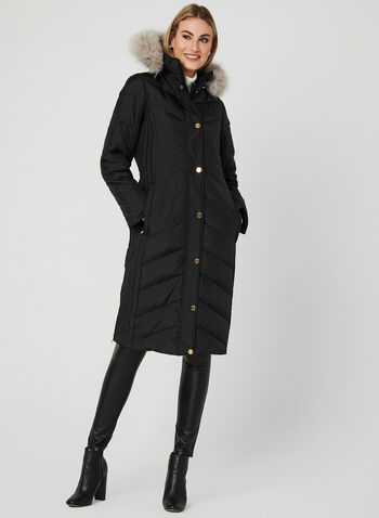 Anne Klein - Long Down Coat, Black, hi-res