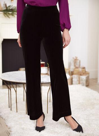 Pantalon en velours à jambe large, Noir,  pantalon, pull-on, jambe large, velours, automne hiver 2019