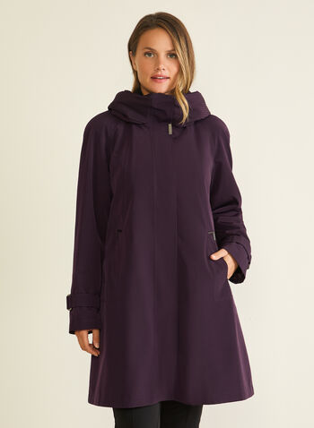 Hooded Button Front Coat, Purple,  coat, winter coat, hood, zipper, button, a-line, flap, synthetic down, fall winter 2020