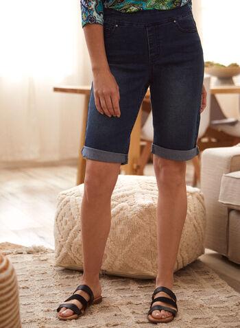 Pull-On Denim Shorts, Blue,  spring summer 2021, bottoms, jean shorts, pull on, front pockets, back pockets, patch pockets,