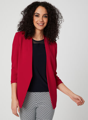 Open-Front Blazer, Red, hi-res,  ¾ sleeves, spring 2019