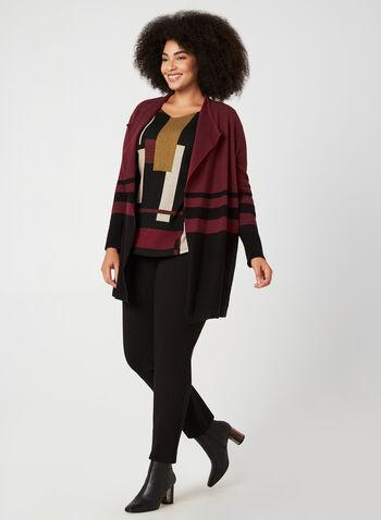 Haut en tricot à motif géométrique, Noir, hi-res,  automne hiver 2019, haut, tricot, manches ¾, manches longues, motif, imprimé, géométrique, boutons, manches cloche, Canada