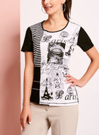 T-shirt en coton patchwork et brillants, Noir, hi-res