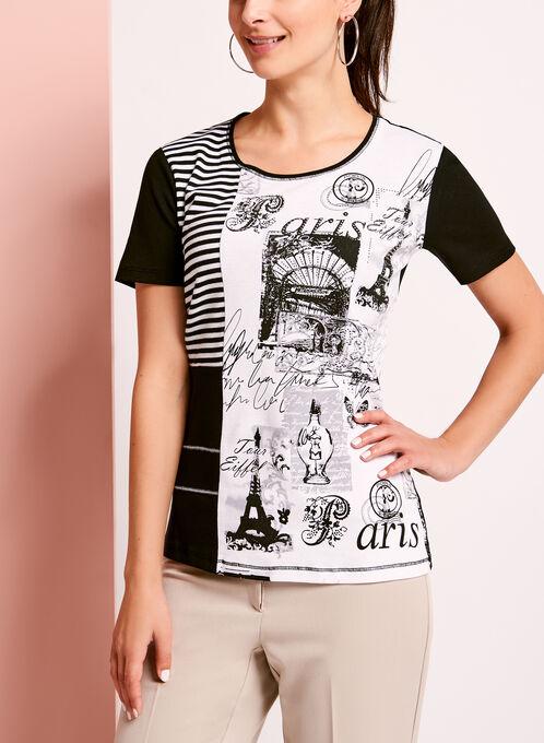 Embellished Patchwork Cotton T-Shirt, Black, hi-res
