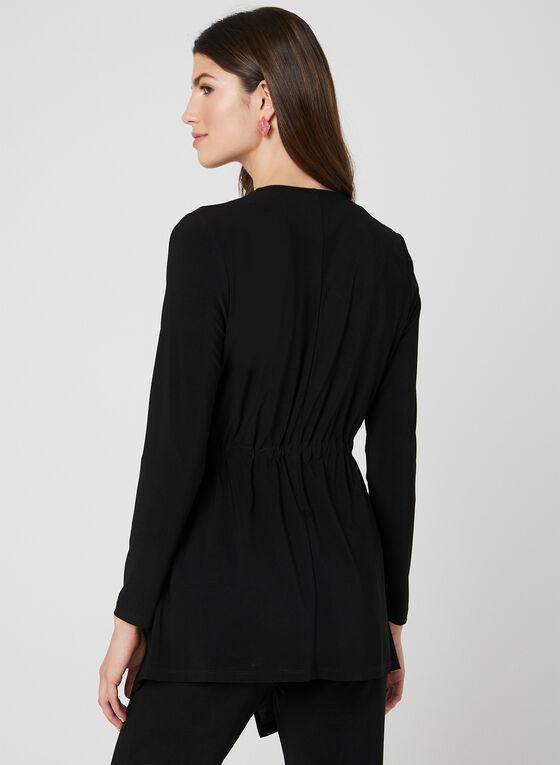 Jersey Tie Detail Top, Black, hi-res