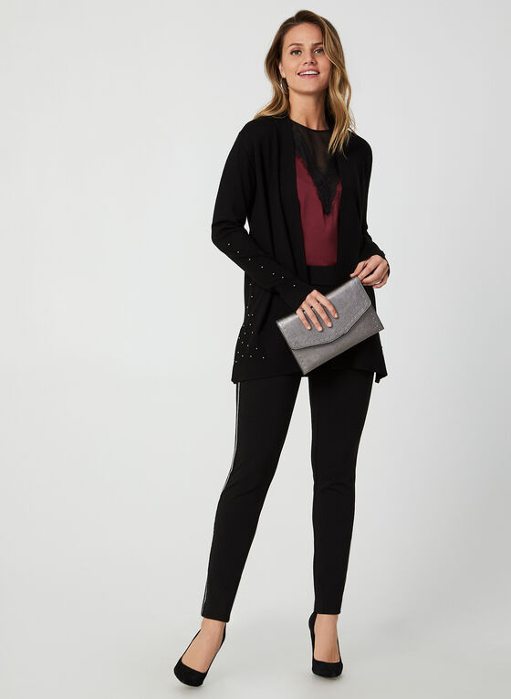 Open Front Knit Cardigan, Black