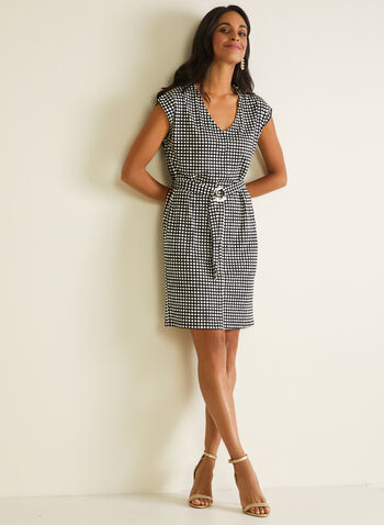 Polka Dot Print Belted Dress, Black,  day dress, polka dot, cap sleeves, crepe, belt, spring summer 2020