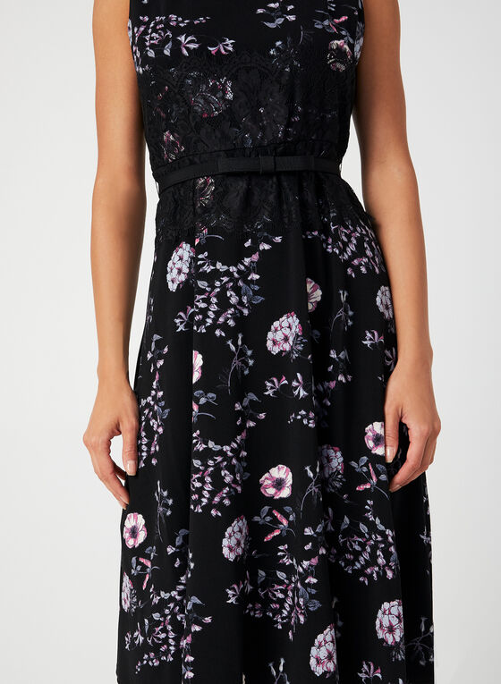 Floral Print Fit & Flare Dress, Black, hi-res