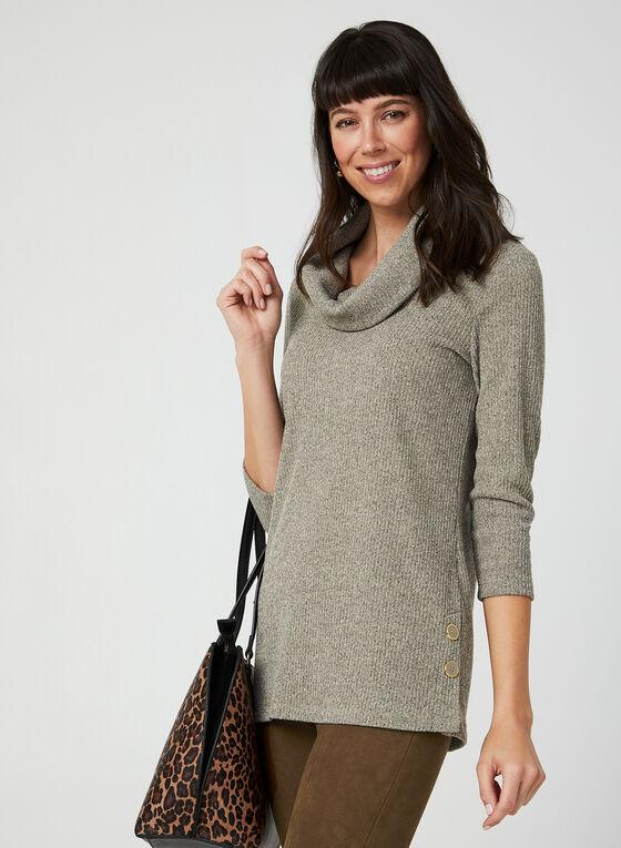 ¾ Sleeve Knit Tunic, White