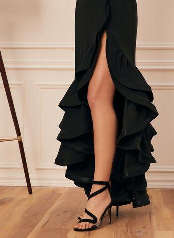Robe sans manches à ourlet volanté, Noir,  robe de soirée, sans manches, col ras-du-cou, ourlet volanté, étagé, crêpe, printemps été 2021