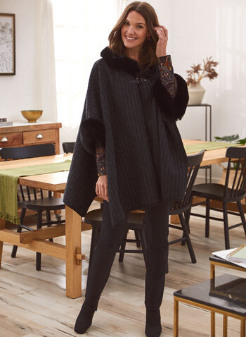 Faux Fur Trim Striped Poncho, Black,  fall winter 2021, outerwear, scarf, accessories, poncho, cape, shawl, wrap, faux fur, buckle. tonal, stripe, faux wool