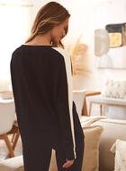 Colour Block Long Sleeve Top, Black