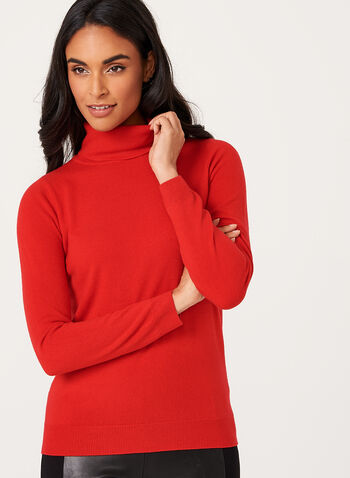 Long Sleeve Turtleneck Sweater, Red, hi-res