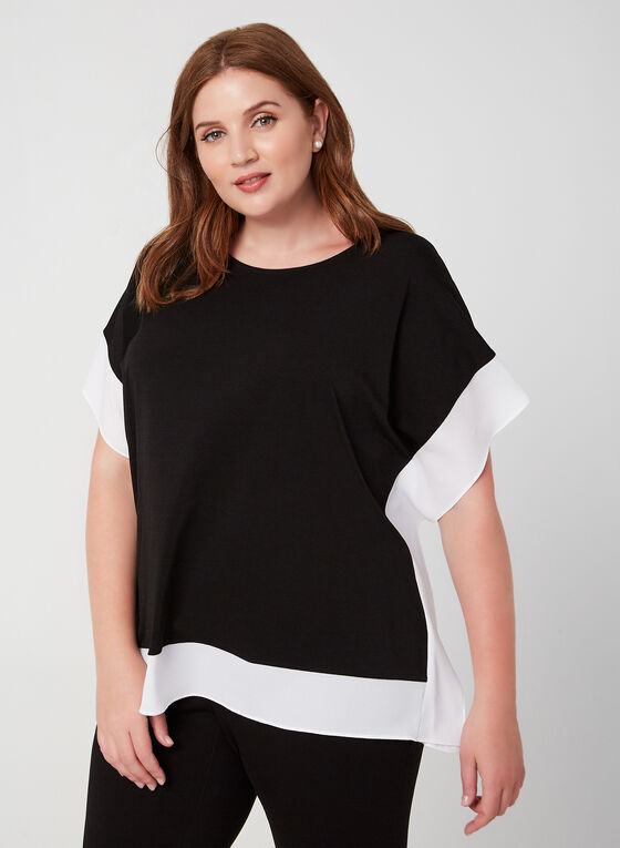 Short Sleeve Poncho Top, Black, hi-res