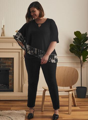 Joseph Ribkoff - Asymmetrical Poncho Top, Black,  top, poncho, elbow sleeves, asymmetrical, scoop neck, crochet, trim, ribkoff, lyman, spring summer 2021