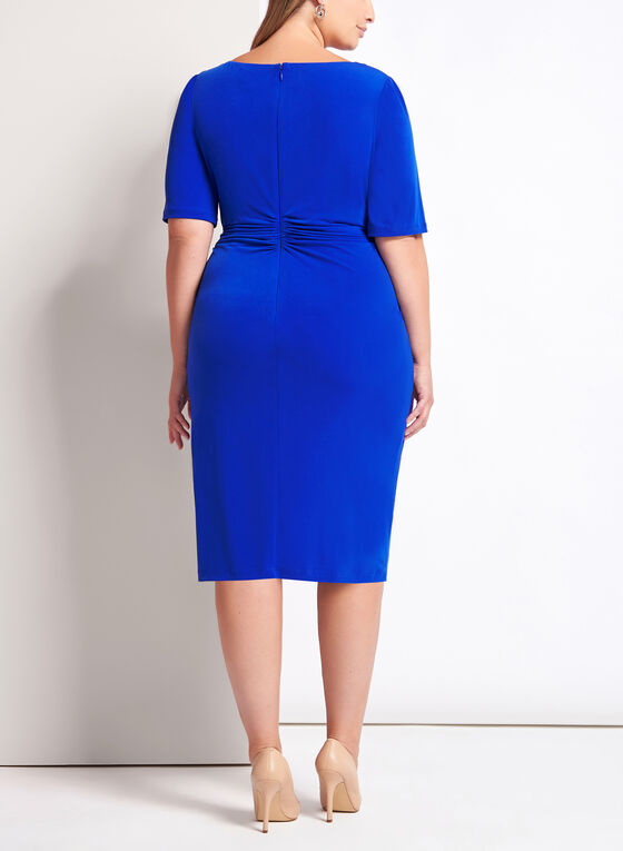 Elbow Sleeve Ruched Jersey Dress, Blue, hi-res
