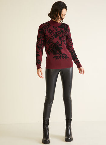 Floral Jacquard Mock Neck Sweater, Red,  sweater, knit, floral, jacquard, long sleeves, mock neck, fall winter 2020