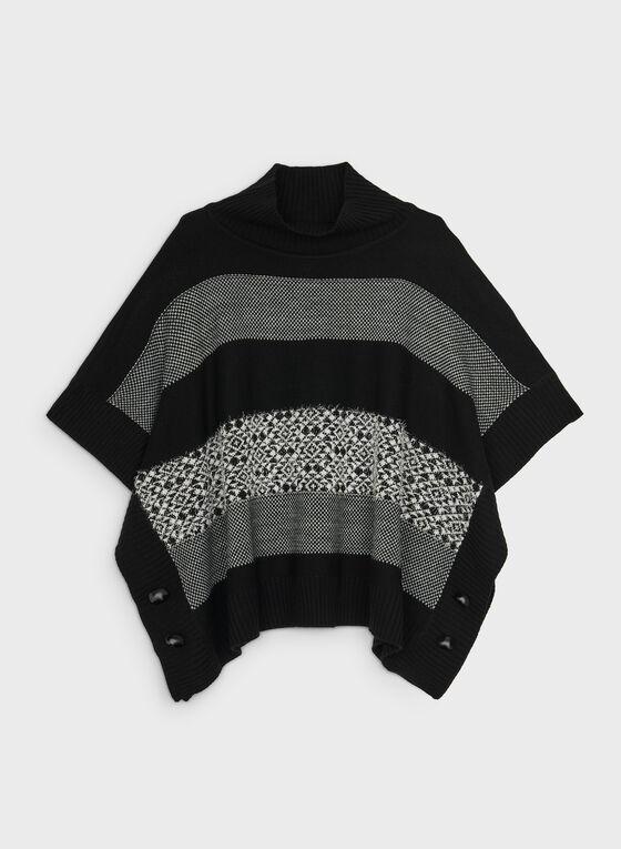 Stripe Print Poncho Sweater, Black