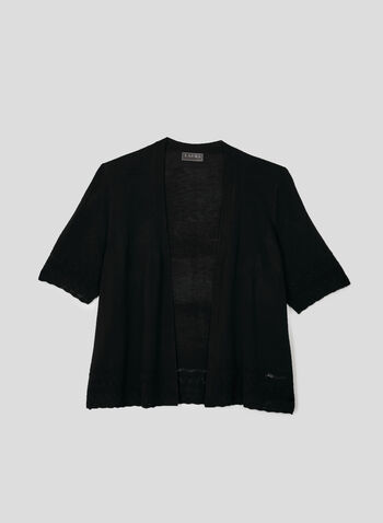 Pointelle Knit Bolero, Black, hi-res,