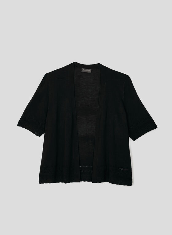 Pointelle Knit Bolero, Black, hi-res
