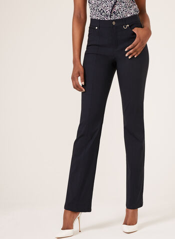Simon Chang - Straight Leg Microtwill Pants, Blue, hi-res