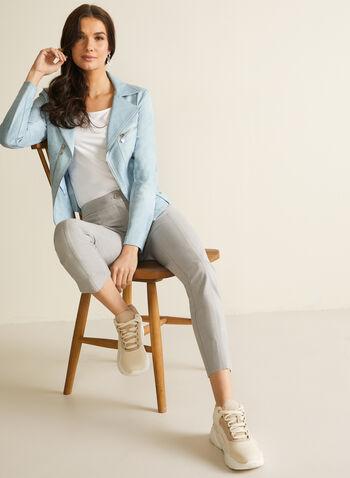 Vex - Blazer en faux cuir et détails zips, Bleu,  blazer, faux cuir, faux suède, zips, manches longues, épaulettes, printemps été 2020