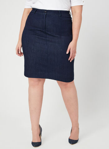 Mode de Vie - Jean Midi Skirt, Blue,  denim, cotton, stretchy, pencil skirt, spring 2019, summer 2019