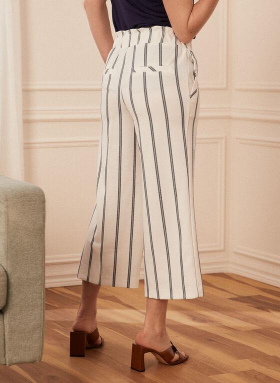 Striped Gaucho Pants, White