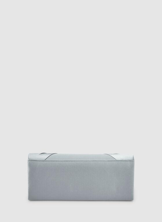 Pochette à plis et détail broche, Argent