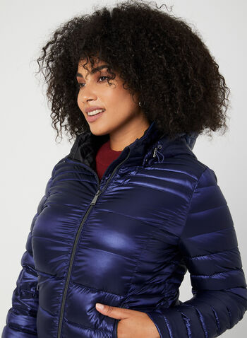 Quilted Packable Lightweight Coat, Blue, hi-res,  coat, quilted, removable hood, long sleeves, pockets, fall 2019, winter 2019