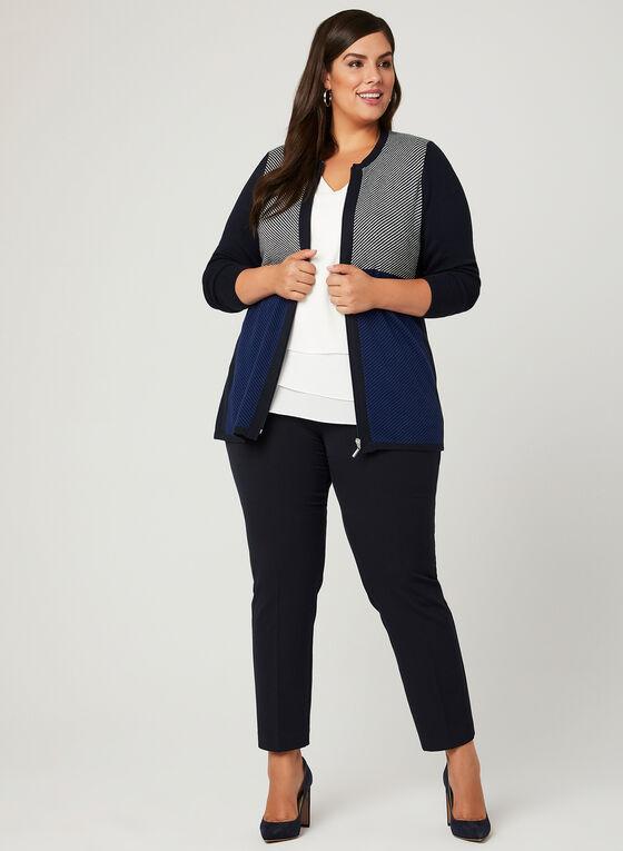 Colour Block Zip Front Cardigan, Blue, hi-res