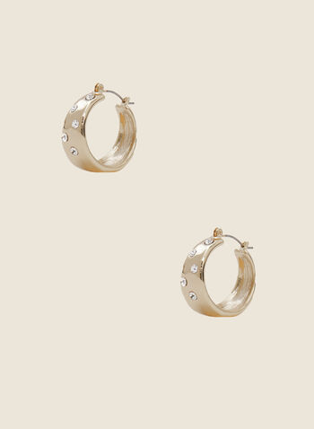Crystal Detail Chubby Hoop Earrings, Gold,  earrings, crystal, golden, metallic, hoop, chubby, hinge, fall winter 2020