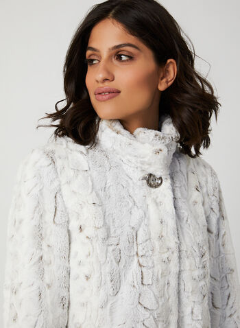Novelti - Faux Fur Coat, Off White, hi-res,  novelti, faux fur, fall coat, long sleeves, standing collar, hook closure, fall 2019