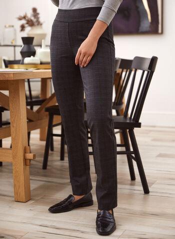 Pantalon pull-on motif tartan, Gris,  pantalon, pull-on, tartan, jambe étroite, point de rome, automne hiver 2020