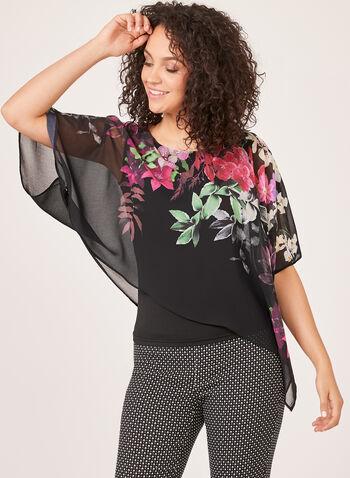 Blouse poncho asymétrique à imprimé floral , Noir, hi-res