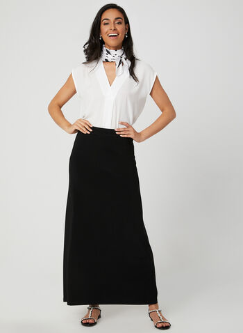 Pull-On Maxi Skirt, Black, hi-res