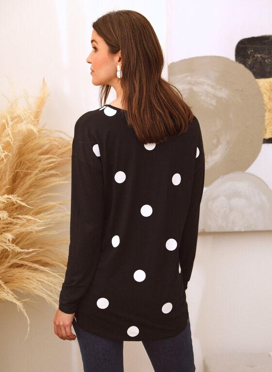 T-shirt tunique à motif pois contrastants , Noir
