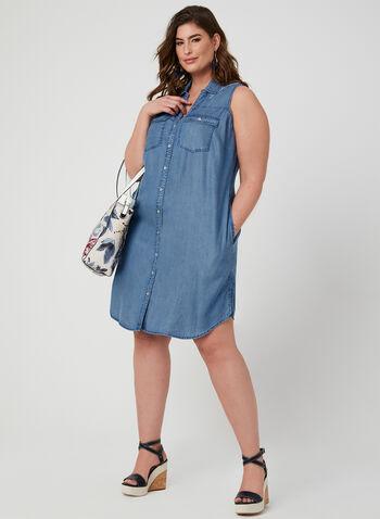 Sleeveless Shirt Dress, Blue, hi-res
