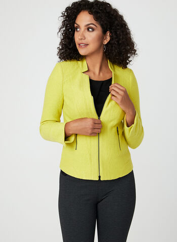 Wool Blend Cropped Jacket, Green, hi-res