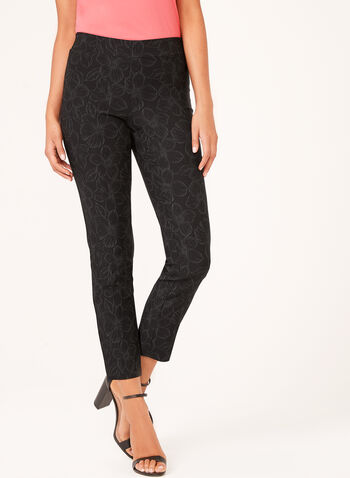 City Fit Pull-On Floral Print Pants, Black, hi-res