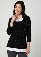 Pearl Detail Fooler Sweater, Black