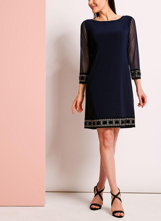 ¾ Sleeve Embellished Trim Shift Dress, Blue, hi-res