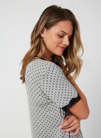 Hamilton - Longue chemise de nuit à pois, Gris,  automne hiver 2019, pyjama, tenue de nuit, chemise de nuit